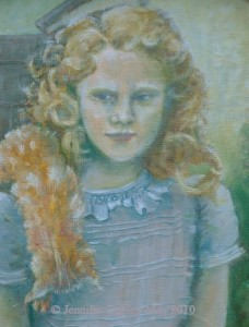 Bewilderement  (self portrait as a child), oil on canvas, Jennifer Copley-May