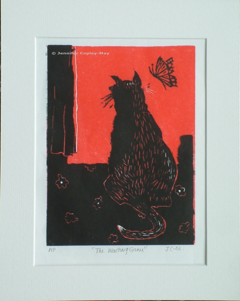The Waiting Game (red), 2013,  260 x 320 cms, original woodcut