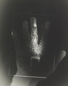 György Kepes, 1906-2001 Hand and Magnet Photogram c. 1939-40 Photograph, gelatin silver print on paper  253 x 203 mm © estate of György Kepes