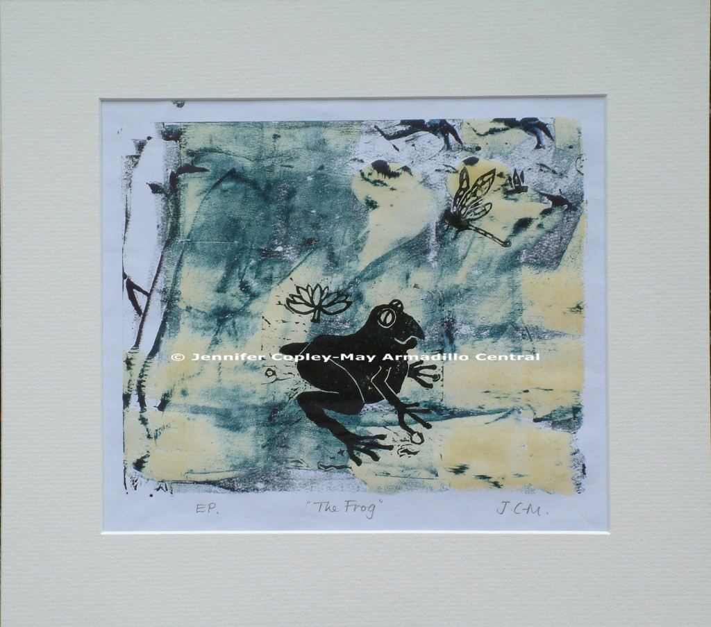 The Frog, original woodcut print, 2013, 330 x 370 mm, framed black with plexiglass, mounted and backed acid free card