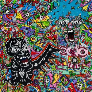 Black Angel Jean-Marc Calvet 130x130cm Acrylic on Canvas