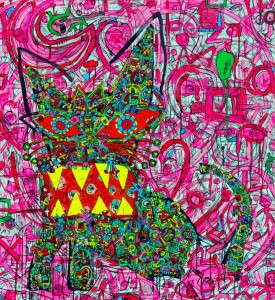 Jean-Marc Calvet, El Gato, 120cmx110cm, acrylic on canvas