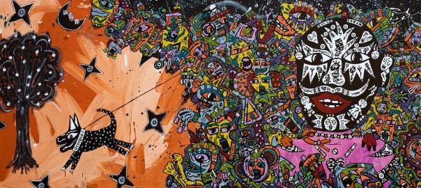 Jean-Marc Calvet, The Leash, 83cm x 180cm, acrylic on canvas