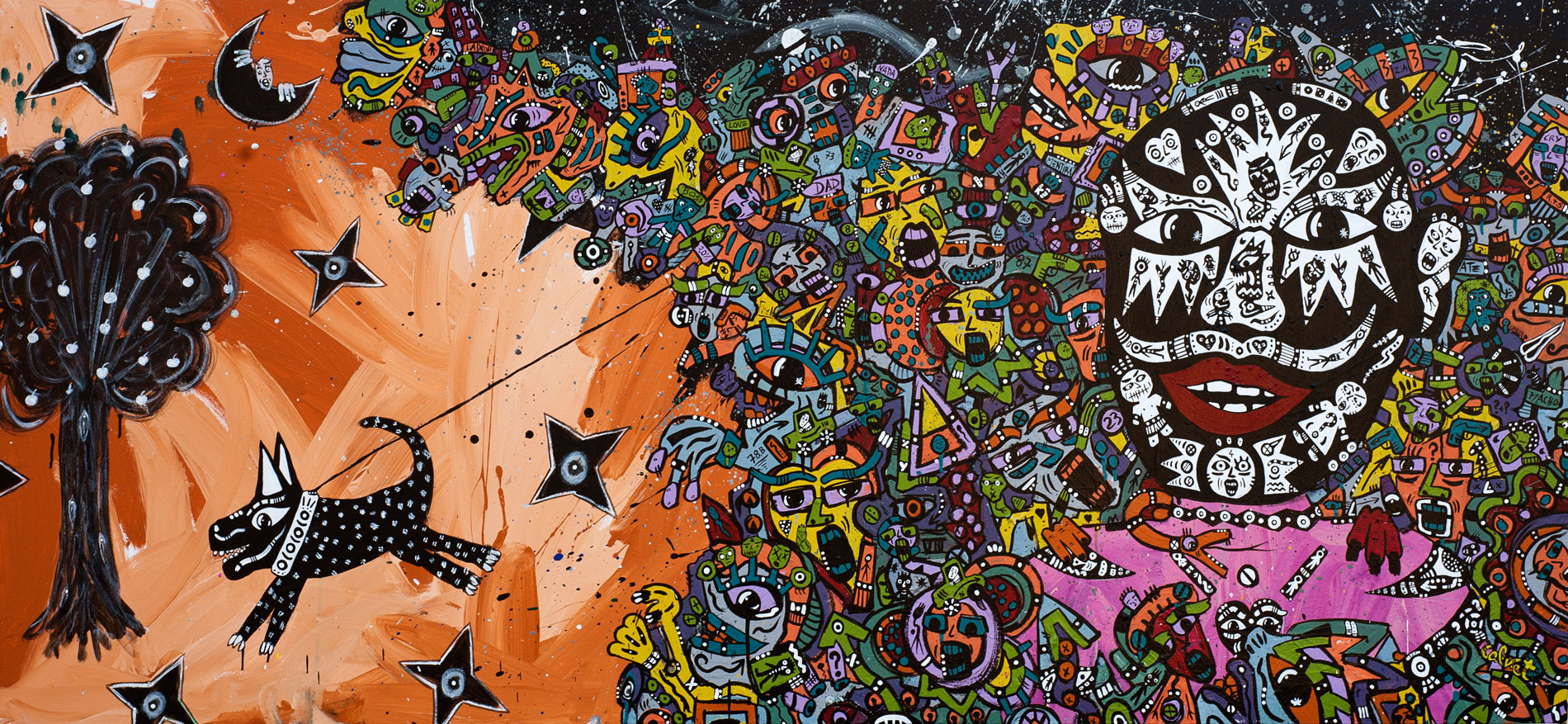 Jean-Marc Calvet, The Leash, 83cm x 180cm, acrylic on canvas