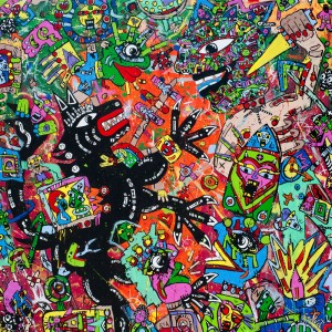 La-Nuit-du-Loup-Jean-Marc Calvet 130x130cm, acrylic on canvas