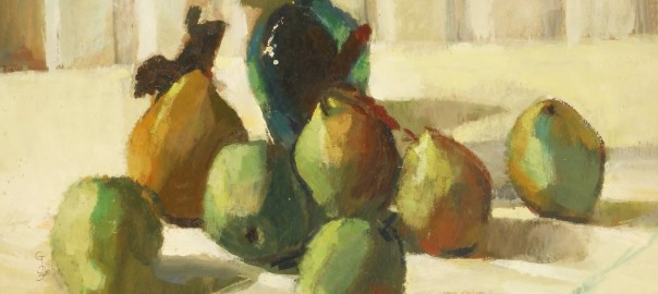 George Israel Still Life Pears and Bottle SL 1990 0-3_wm