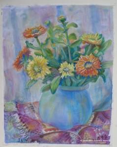 Jennifer Copley-May Marigolds in blue vase