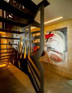 Bunker, Lincoln Miles, Architect, Stairwell Cladding in Richlite, Lisa Traxler, photography Julian Winslow