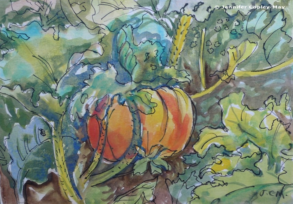 Jennifer Copley-May Autumn Pumpkin w_c ink c_wm