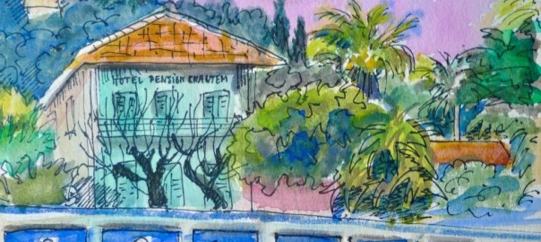 Jennifer Copley-May Beach Huts Cote d'Azur evening watercolour with ink c_wm