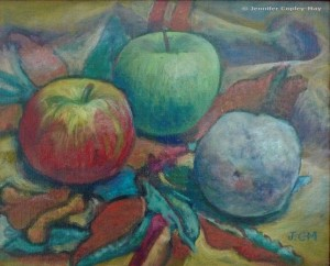 Jennifer Copley-May Still Life with Apples Oil on canvas c_wm