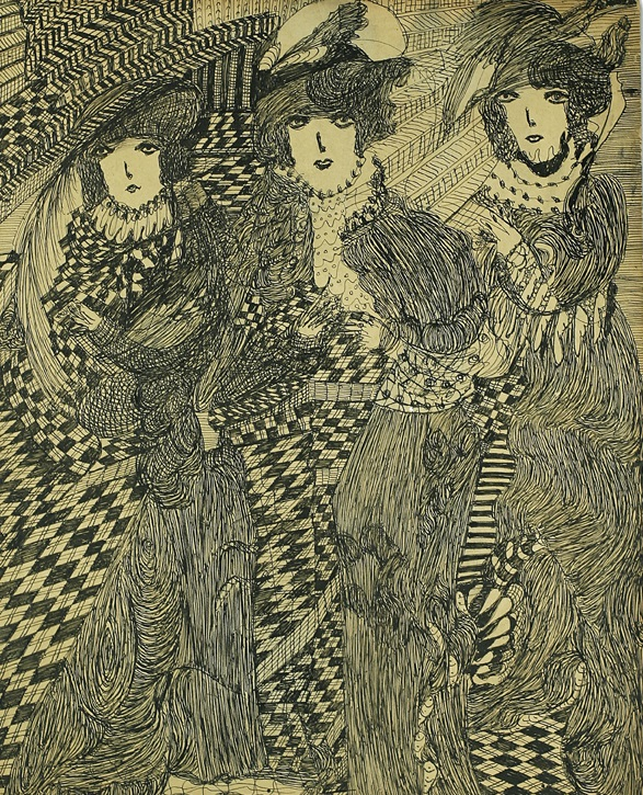 Madge Gill Three draped figures in a chequered setting