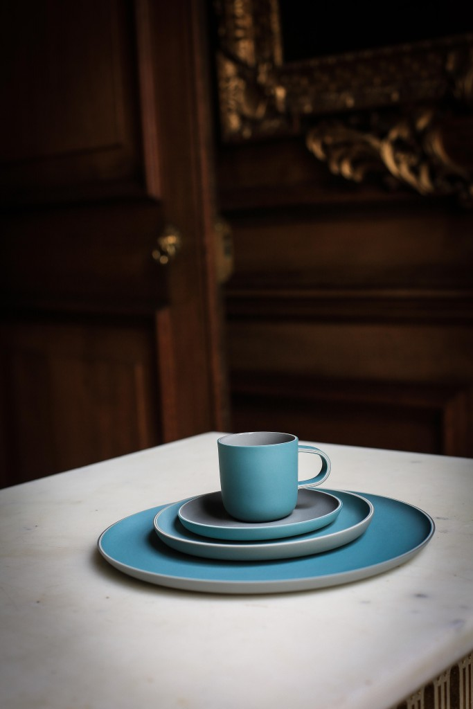Jill Shaddock, Dinner Plate, Side Plate, Coffee Cup and Saucer, 2017, ceramic, slipcast in multilayers AC JILL SHADDOCK The Silverware Still Lives (2017) Photo - Rosalind Atkinson . Art Direction - Tasha Marks (0E7A3307-2)