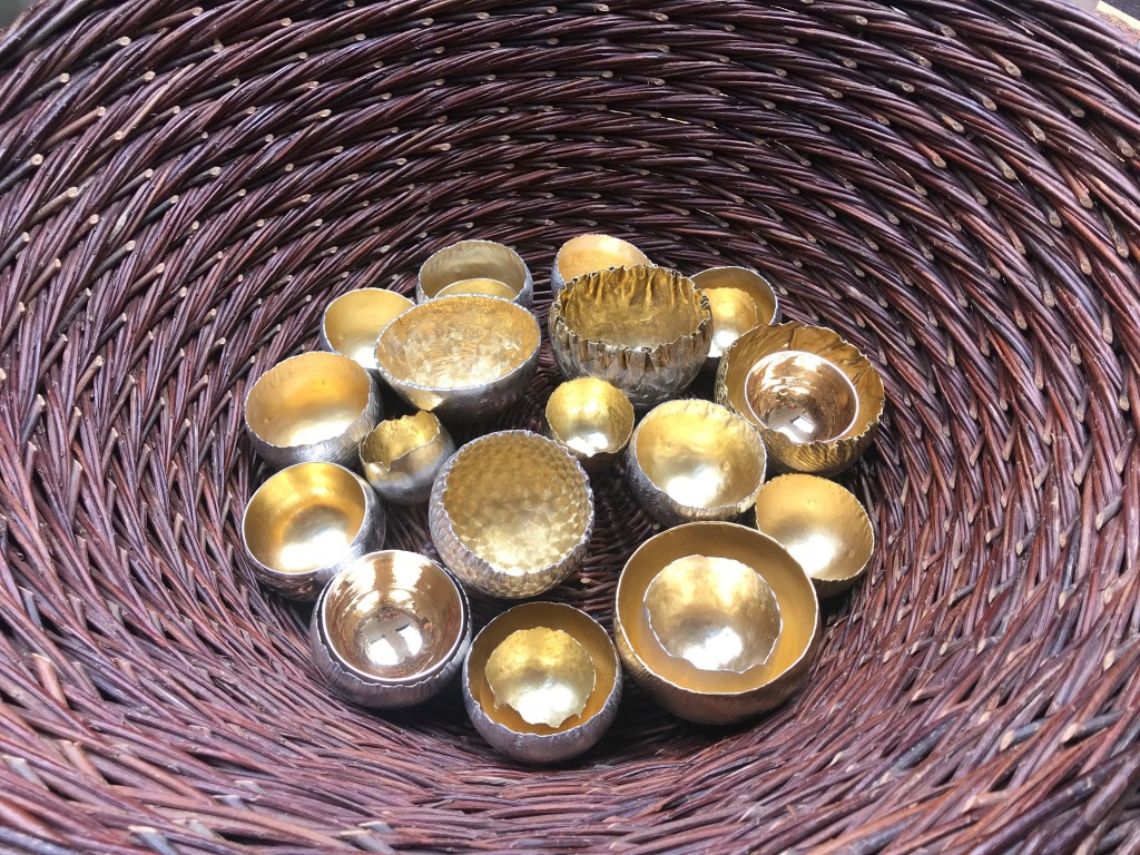 Malcolm Appleby Interview, Armadillo Central blog, Lisa Bech Curly Weave Basket containing Malcolm Appleby beakers at the Silver Symposium, Grandtully, 2018, © The Scottish Gallery
